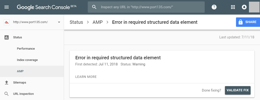 "An AMP issue in Google Search Console: ""Error in required structured data element"""