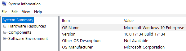 """Output of """"msinfo32"""" to see Windows version"""