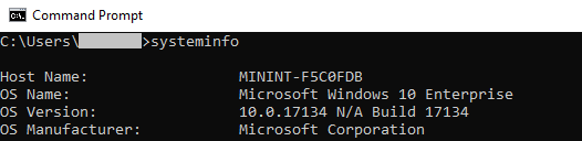 """Output of """"systeminfo"""" command to see Windows version"""