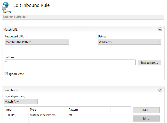 Inbound rule to redirect HTTP requests to HTTPS by using IIS URL Rewrite