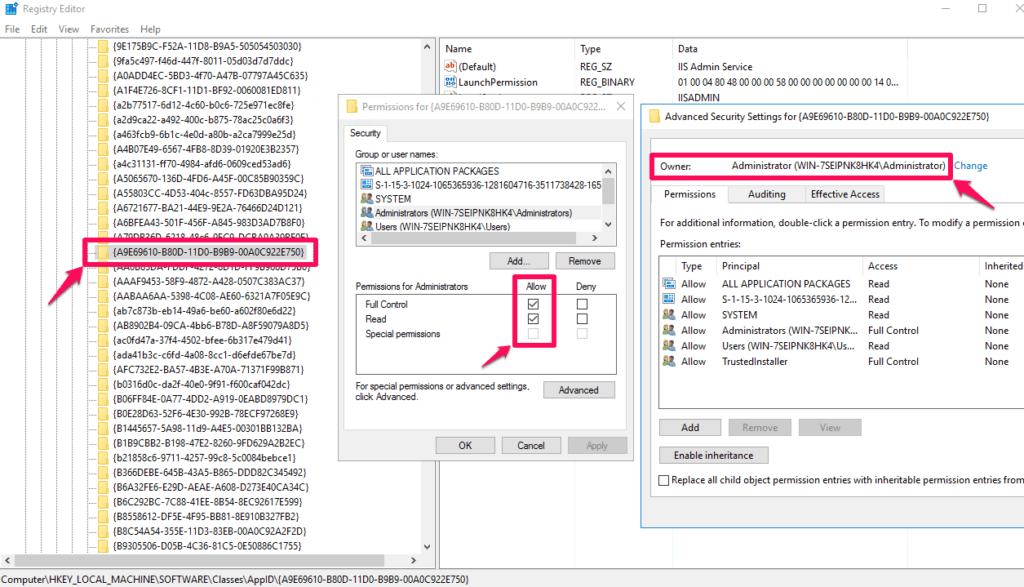 DCOM config security tab greyed out