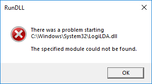 There was a problem starting C:WindowsSystem32LogiLDA.dll (Solved)