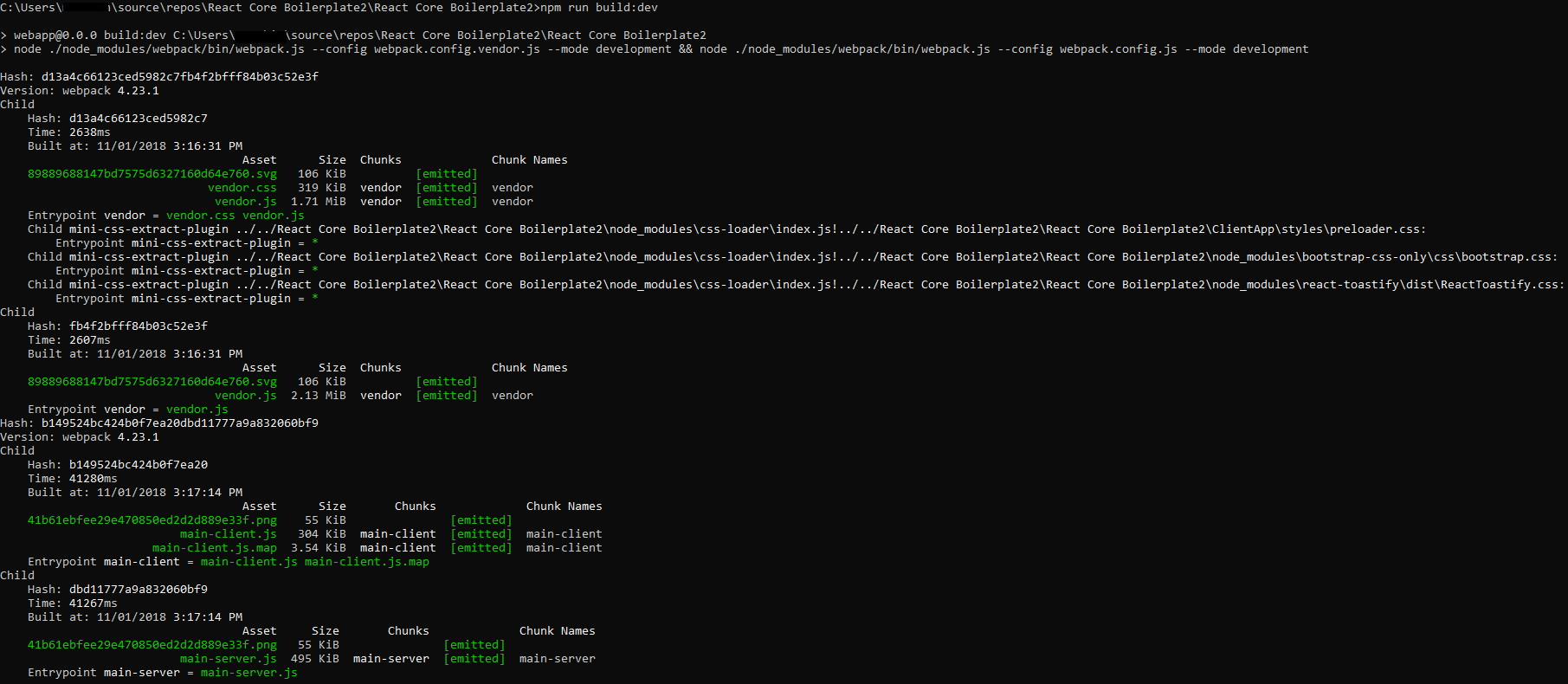 Add JavaScript files to React Core Boilerplate template