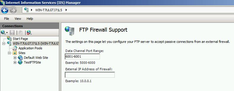 single port for IIS FTP