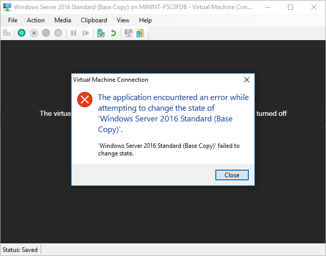 Hyper-V machine failed to change state (Solved) - port135 com